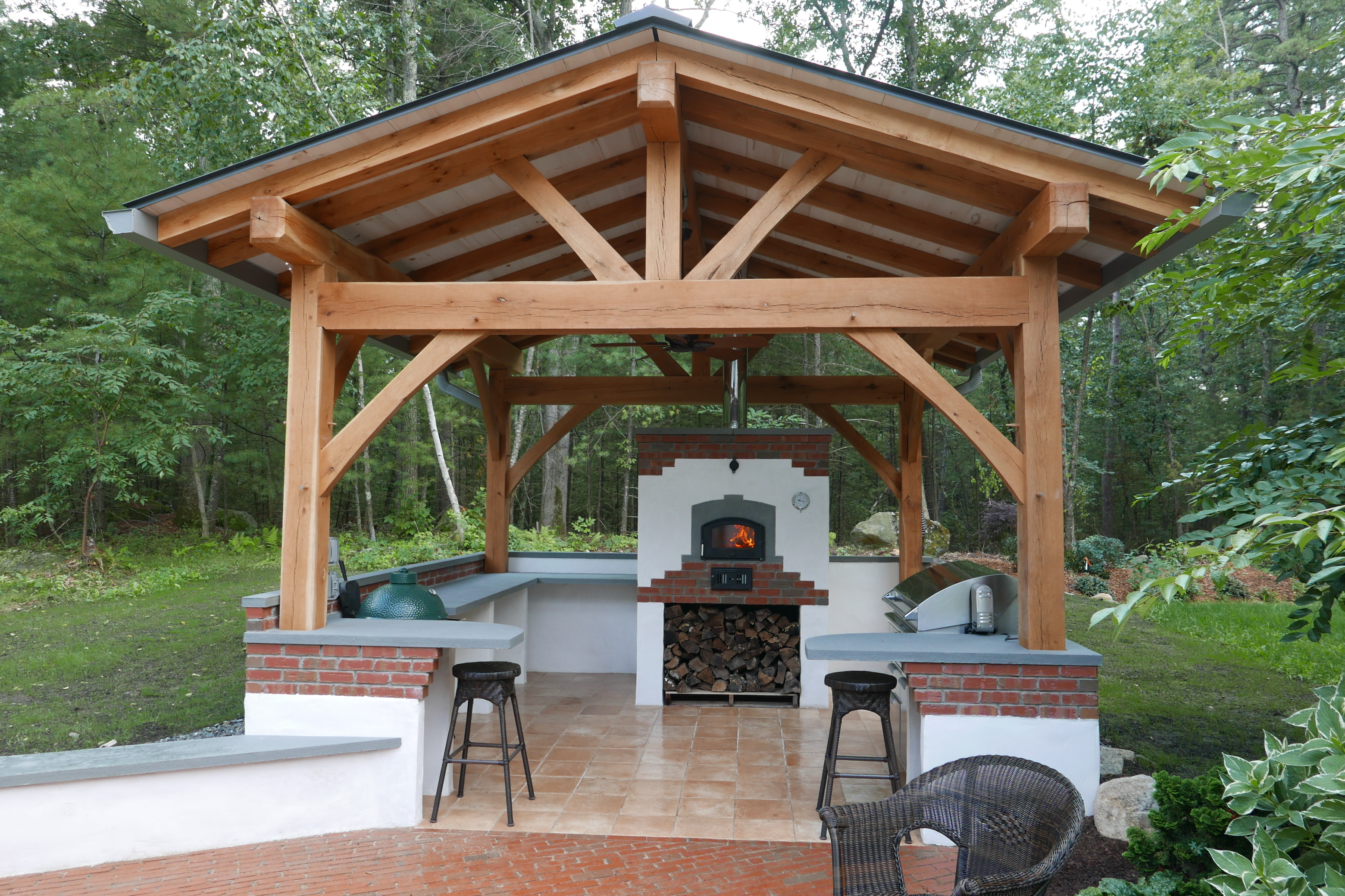 Timber frames hearth timber for Outdoor kitchen roof structures
