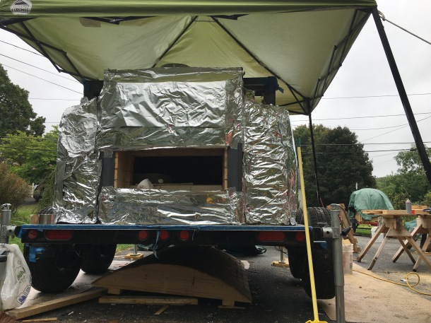 the oven with insulation and foil